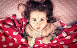 Preview wallpaper Freckles girl, child, thermometer