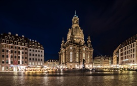 Germany, Dresden, night, lights, square, buildings