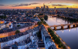 Preview wallpaper Germany, Frankfurt, river, bridge, city, dusk, lights