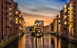 Preview wallpaper Germany, Hamburg, river, city, night, lights, houses