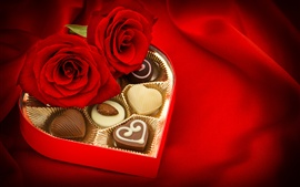 Gift, chocolate candy, red rose, romantic