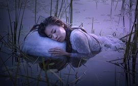 Preview wallpaper Girl sleep in the lake, water, grass