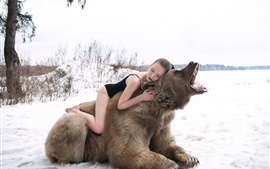 Girl sleep on bear back, roar, winter, snow