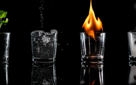 Preview wallpaper Glass cups, fire, black background