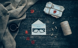 Preview wallpaper Glasses, envelope, letters, coffee, cloth
