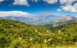 Preview wallpaper Greece, island, Crete, mountains, trees, top view