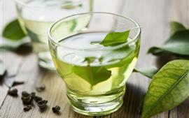 Chá verde, copo de vidro