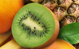 Preview wallpaper Half of kiwi macro photography