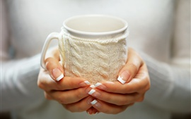 Preview wallpaper Hands, cup, mitten