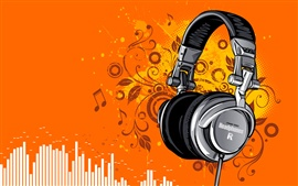 Headphones, music, vector