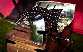 Helmet, sword