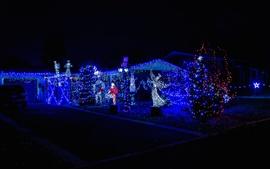 Luces de fiesta, noche, año nuevo, navidad