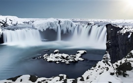 Iceland, Godafoss, Ice, waterfall, snow