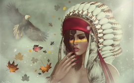Preview wallpaper Indian girl, feathers, eagle, fantasy art