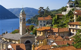 Italy, Menaggio, city, houses, lake