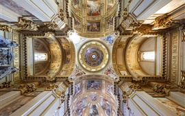 Italy, church interior, top view, painting