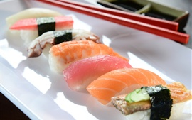Preview wallpaper Japanese cuisine, sushi, meat, food