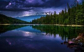 Parc national de Jasper, Alberta, Canada, montagnes, arbres, lac, crépuscule