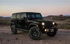 Jeep, coche, anochecer