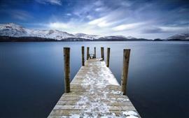 미리보기 배경 화면 케스 윅, 영국, 다리, 부두교, 호수, 산, 구름