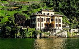Lago Como, vivenda, declive, árvores, Itália