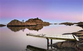 壁紙のプレビュー 湖、桟橋、石