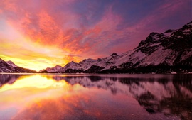 Preview wallpaper Lake, snow mountains, sunset