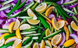Preview wallpaper Lemon, pepper, onion, slices