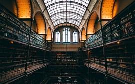 Interior de la biblioteca, muchos libros, ventana