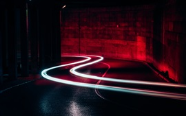Light lines, road, night