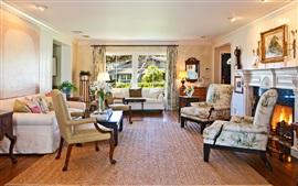 Sala de estar, cadeiras, sofá, janela, lareira, interior