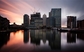 London, England, Canary Wharf, twilight, sunset, skyscrapers, river, boats