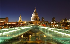 London, England, capital, St. Paul's Cathedral, lights, night