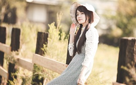 Preview wallpaper Long hair Asian girl at sunshine
