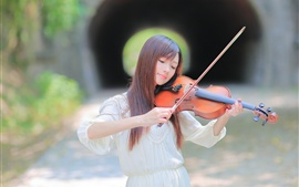 Preview wallpaper Long hair Asian girl play violin, bokeh