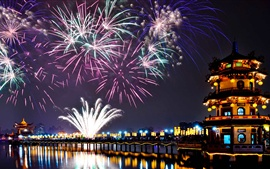 Preview wallpaper Lotus Lake, Kaohsiung, Taiwan, fireworks, night, New Year