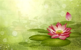 Preview wallpaper Lotus painting, green background