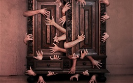 Many hands, cabinet, creative picture