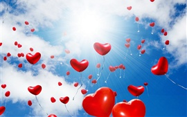 Preview wallpaper Many love hearts balloons flight, glare, sun, clouds