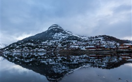 Preview wallpaper Mountain, lake, water reflection, houses, snow, winter