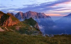 Mountains, gorge, haze, nature landscape