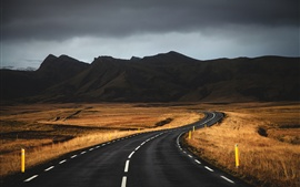 Preview wallpaper Mountains, road, grass, dusk