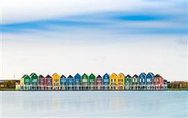 미리보기 배경 화면 네덜란드, 컬러 풀 하우스, 강, 반사