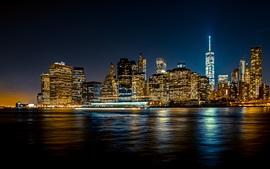 Vista nocturna de la ciudad, rascacielos, río, luces