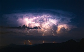 Night, lightning, silhouettes, storm, clouds