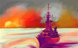 Preview wallpaper Oil painting, ship, sea, sunset, colorful