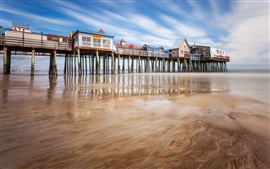 Old Orchard Beach, Maine, cais, mar, EUA