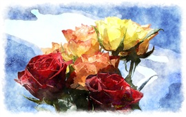 Preview wallpaper One bouquet roses, different colors, watercolor painting
