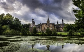 Preview wallpaper Ooidonk Castle, Belgium, trees, pond, clouds
