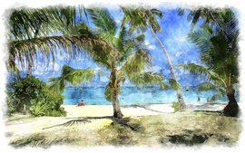 Palm trees, sea, beach, watercolor painting